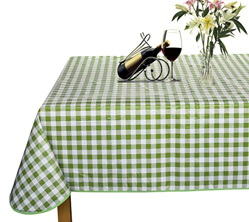 Lavin Overlock Edge Vinyl Tablecloth PVC Table Cloth Table Cover Plastic, Wipe Clean Heavy Duty Waterproof Oil Cloth Oil-proof Satin-resistant, Rectangle, Green Checker, 55x78 Inch