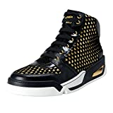 Versace Men's Black Leather Hi Top Sneakers Shoes US 11 IT 44;