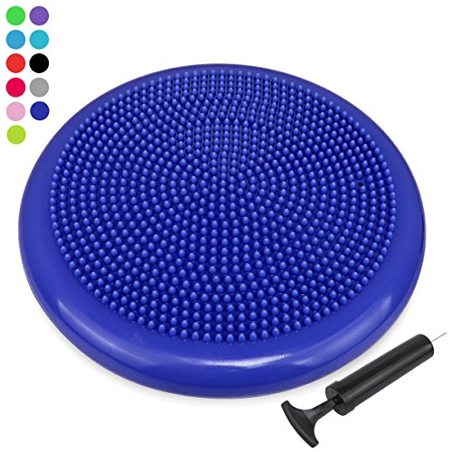 Inflated Stability Wobble Cushion with Pump, Extra Thick Core Balance Disc, KIDS Wiggle Seat, Sensory Cushion for Elementary School Chair (Office & Home & Classroom)
