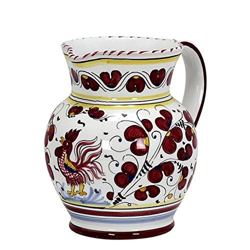 - ORVIETO RED ROOSTER: Traditional Deruta Pitcher (1 Liter)