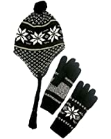 Luxury Divas Tibetan Style Snowflake Knit Hat & Glove Set