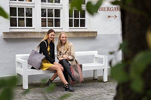 manbefair Fair Trade Tweed Shopper Schultertasche Mirage Umhängetasche Hobo Bag Tasche 35x42 cm (BxH) (Beige) Grau
