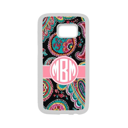 iFUOFF Best Gift Paisley Bradley Pattern Pink Monogram Initial Cover Case & Dust Plug for - Samsung G9250 GALAXY S6 edge (5.1 inch)
