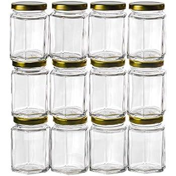 Gojars 3oz Premium Food-grade Hexagon Glass Jars. Mini Jars With Lids For Gifts, Wedding Favors, Honey, Jams And More. (12, 3oz)