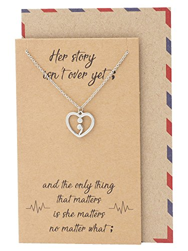 Quan Jewelry Continue Semicolon Heart Necklace, Mental Health Awareness, Best Encouragement Gifts for Women with Greeting Card