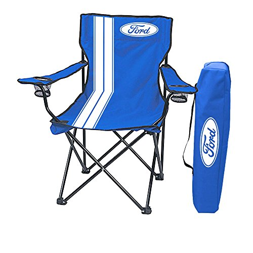 Ford Logo Portable Folding Tailgate Chair with Cup Holders, Blue/White with Carrying Bag