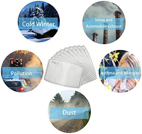 100 Pcs Filters for Face Mask Activated Carbon PM2.5 Masks Filter Replacement for Men and Women