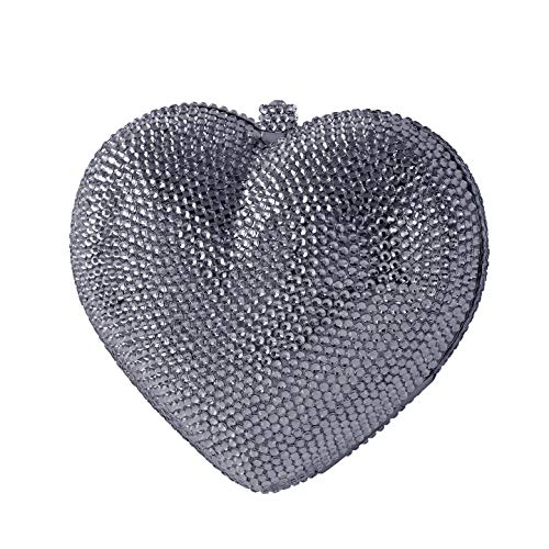 (3D Heart Shaped Crystal Bridal Clutch Pave Special Occasion Evening Bag & Compact Mirror Silver)
