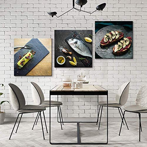 3 Panel Delicious Food Pictures Home Wall for Bedroom Living Room Paintings Framed x3 Panels