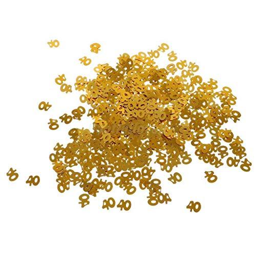 BROSCO Glitter Golden Table Confetti Number Confetti Sprinkles Birthday Party Decor | Item - 40th -