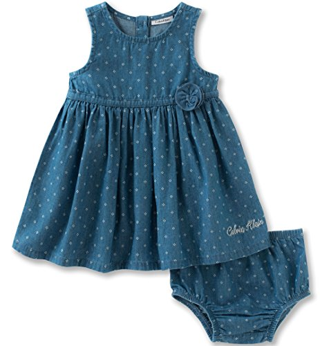 Calvin Klein Baby Girls' 2 Pieces Denim Dress with Panty-Rose, Light Blue Denim, 24M