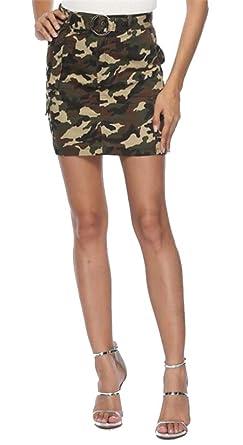 fbb37b039b3a7 BU2H Women Fashion Defined Waist Camouflage Print Zip Up Slim Bodycon Mini  Skirt 1 S