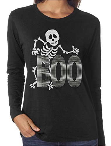 - Wild Woman Tees Boo Skeleton Halloween Glitter and Rhinestone Long Sleeve Shirts, XX-Large, Black