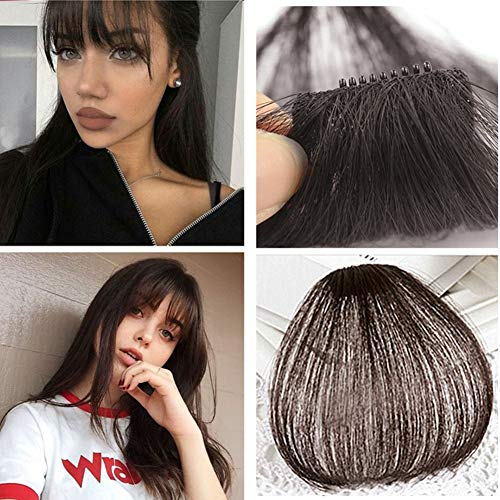 Alanber Human Hair Bangs Clip on Real Hair Darkest Brown Hair Fringe without Temples Clip in Extensions Human Hair 100% Real Hair Extensions (Human Clip On Bangs)