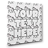 Custom Text Unicorn Pattern Kids Room Coloring Canvas Decor