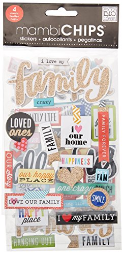 Me & My Big Ideas CBVX46 Chipboard Value Pack-I Love My Family -