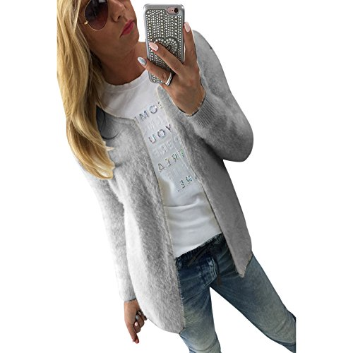 Fur Coats Long Neck Size MIRRAY Outwear Winter Large Autumn Grey Jackets O Long Warm Casual Loose Outerwear Cardigan Solid Sleeve Knitted Open Girls Womens Front v6vwq0T