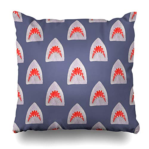 Ahawoso Throw Pillow Cover Danger Pattern Shark Head On Surfing Real Mouth Watercolor Drawing Scary Aggressive Aqua Design Home Decor Cushion Case Square Size 20 x 20 Inches Zippered Pillowcase
