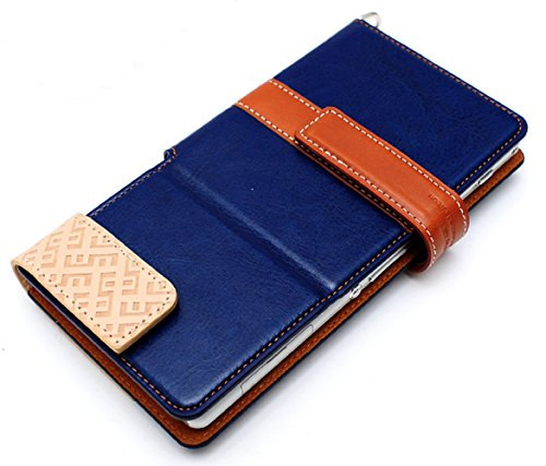 LIM's Special Two Size Dual Tone Synthetic Leather Type Diary Case for Smartphone (Navy/ Size S)
