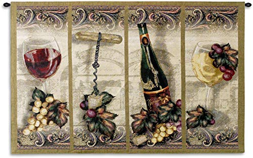 (Nouveau Wine | Woven Tapestry Wall Art Hanging | Scrolled Panel Wine Grape Leaf Artwork Great for Wine Cellar | 100% Cotton USA 35X53)