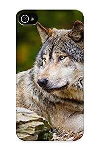 Dionnecortez Design High Quality Wolf Laying On Rocks Cover Case With Ellent Style For Iphone 4/4s(nice Gift For Christmas)
