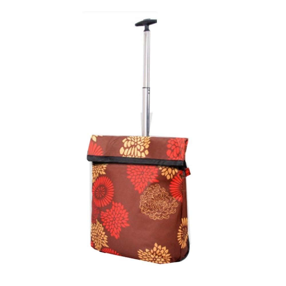 NAN ショッピングカートFoldableショッピングバッグTugboatショッピングロッドトラベルストレージバッグポータブル荷物袋(100 * 36Cm) トレーラー (色 : Coffee flower) B07DZCPRLK Coffee flower Coffee flower