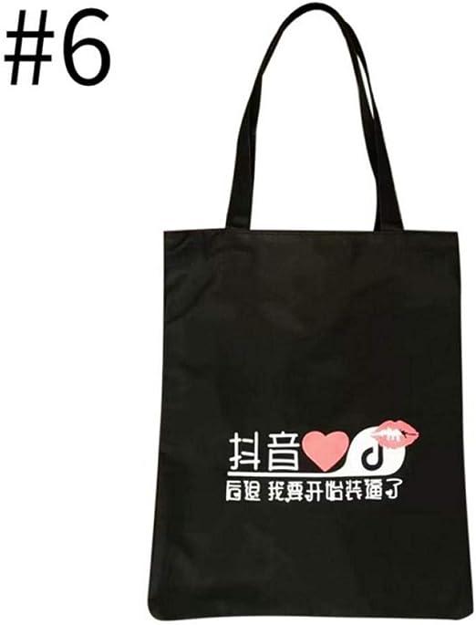 Bolso de lona informal para mujer, bolsa de la compra con