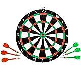TukTek Sports Double Sided Dart Board w/ 6 Darts for Home Game Room Mancave Dartboard