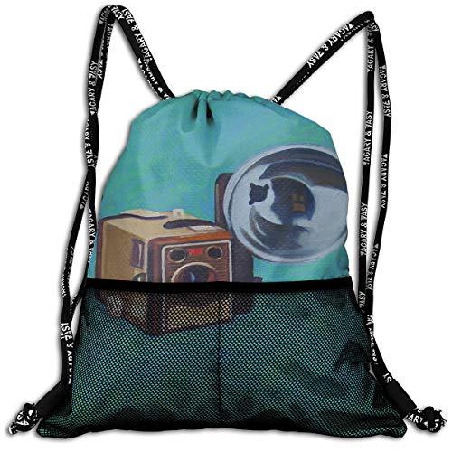 Brownie Box Camera Unisex Large Sport Sack Drawstring Backpack Waterproof Stadium Shoulder Bags Home Travel School Storage Rucksack