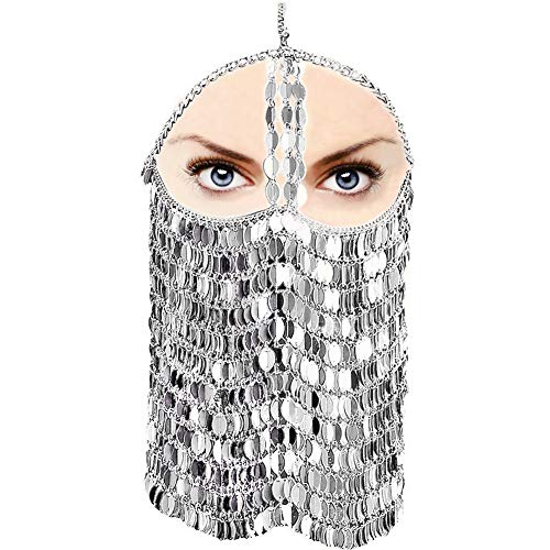 CCbodily Sequins Masquerade Mask Chain for Women - Venetian Halloween Mardi Gras Masquerade Mask Face Chain Jewelry for Women Nightclub Party and Beach Masquerade Mask -