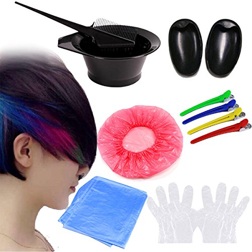 Health & Beauty - Hair Styling Tools - 7Pcs DIY Hair Dye Coloring Tools Hair Dyeing Kit Mix Bowl Hairdressing Brush Comb Section Clips Set from Isali Health & Beauty
