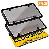 Tinted Car License Plates Shields Frames Combo 2 Packs Clear Smoked Plate Cover Unbreakable Bubble Shields with Frames Fits Any Standard US Plats Screw Caps Included