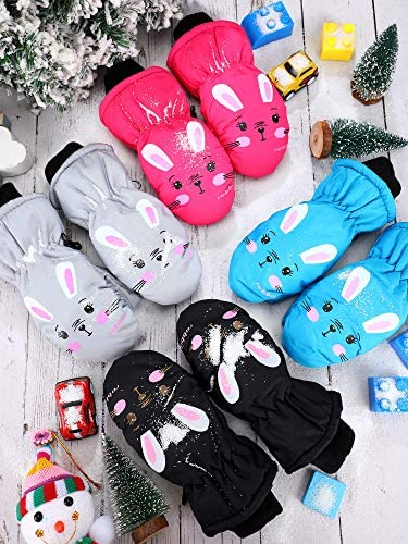 4 Pairs Child Ski Gloves Waterproof Snow Mittens for Toddlers Boys Girls