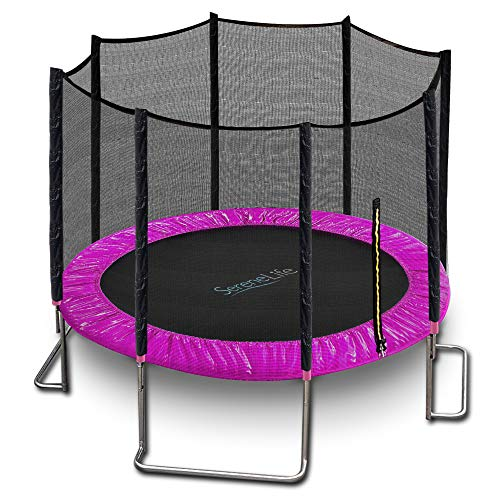 SereneLife Trampoline with Net - 10ft ASTM Approved Trampoline with Net Enclosure - Stable, Strong Kids and Adult Trampoline - Outdoor Trampoline for Teens and Adults - Reinforced Kids Trampoline