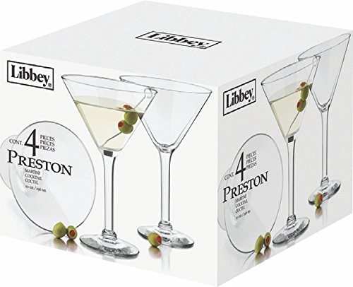 (Libbey 10-Ounce Preston Martini Glass, Clear, 4-Piece)