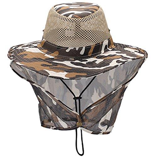 Luwint Mesh Neck Flap Sun Hat - Head Net Cover Bucket Cap for Outdoors Fishing Gardening Camping Hiking Hunting (Yellow Camo)