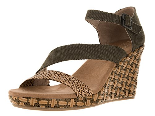 TOMS Women's Clarissa Wedge Olive Textile/Wrapped Sandal 7 B (M) - Toms Canvas Wedge Shoes