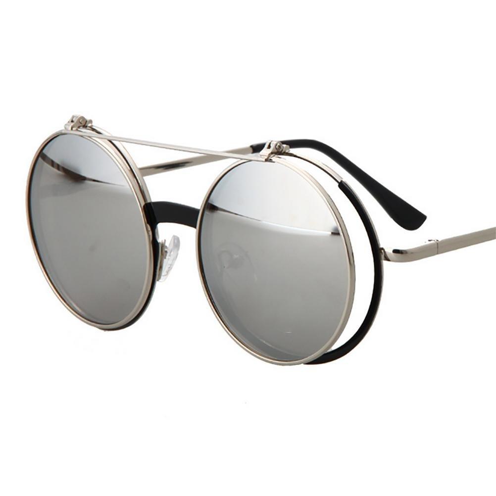 RUIN-Retro punk rock a conchiglia occhiali occhiali da sole metalli uomini e donne , c1 silver white reflective