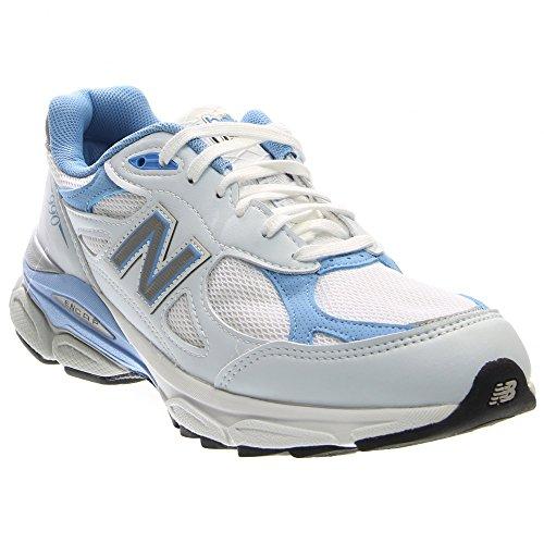 New Balance Women's W990 Running Shoe,White/Blue,6 B US