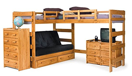 Chelsea Home Furniture 3662001-S L Shaped Futon Loft Bed with Underbed Storage, 68