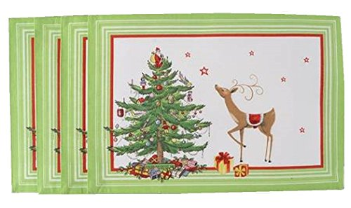 Spode 4 Christmas Jubilee Fabric Placemats (Green Border)