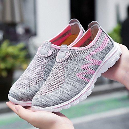Grisrosa Unisex Sneakers Cordones Deporte Deportivos Zapatos de Ligero Zapatillas Running H Verano de Sin Mastery Respirable para WCwpaqfS