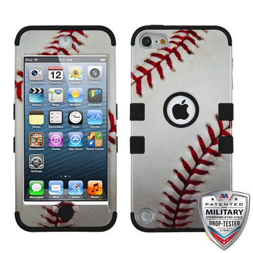 Apple iPod Touch 5th 6th Gen Baseball-Sports Collection/Black TUFF Hybrid Case (Ipod 5 Cases Made By Mybat)
