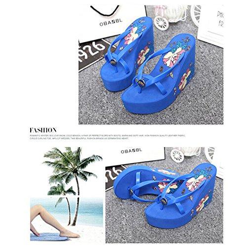 Flip 3EU Talon Sandales Flops Wedge Chaussures Size Platform Blue 1 Tongs Plage Color Femmes 37 qdfgaq
