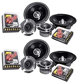 "2 Pairs Rockville X6.5C Competition 6.5"" 1000 Watt Component Car Audio Speakers"