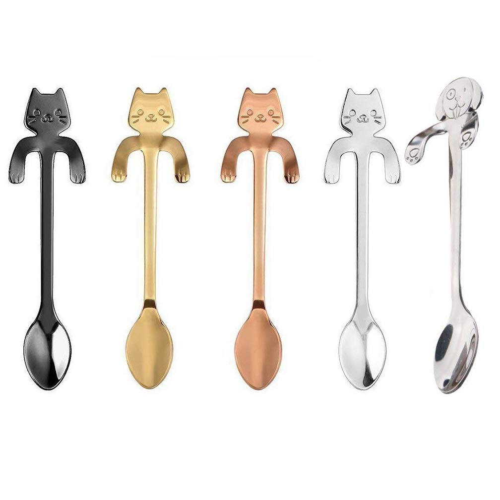 Haishell 5 Pcs Coffee Spoon Stainless Steel Cat And Dog Dessert Spoon Drink Spoons Mixing Spoon Milkshake Spoon Tableware Kitchen Supplies,4 Colors Lush agelessness