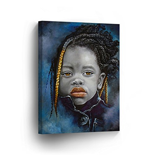 African Little Girl Pose Black Orange and Blue Combination Painting CANVAS PRINT Decorative Art Wall Decor Artwork Wrapped Wood Stretcher Bars - Ready To Hang %100 Handmade in the USA - AfricanV91_C