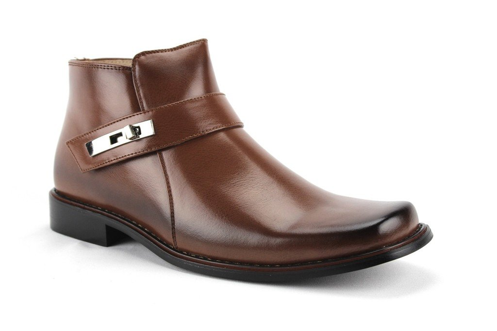 Jazame Men's 38901 Ankle High Square Toe Casual Dress Boots, Brown, 10