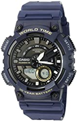 Casio Men's 'Heavy Duty' Quartz Resin Automatic Watch, Color:Blue (Model: AEQ110W-2AV)