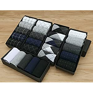 Men's Dress Socks,YAFEI 5 Pack Cotton Trouser Socks for Men-Comfortable and Fashion (Dashed, 5 Pack)